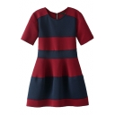 Thick Stripe Color Block Short Sleeve A-line Dress