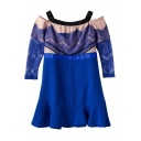 Royal Blue Lace Inset Off-the-Shoulder Dress