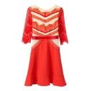 Geometric Lace Insert 3/4 Sleeve Orange Dress