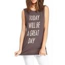 Gray Background White Sentence Print Sleeveless T-shirt