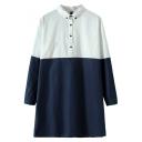 Top&Bottom Color Block Style Stand Collar Smock Shirt