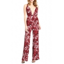 Plunge Neck Flower Print Cami Jumpsuit with Cross Strap Back