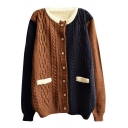 Contrast Trim Color Block Unique Style Round Neck Button Fly Cardigan