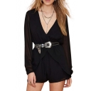 Black Plunge Neck Ruffle Waist Long Sleeve Chiffon Rompers
