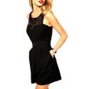 Black Lace Cutout Style Sleeveless High Waist Playsuit