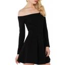 Off-the-Shoulder Black Long Sleeve Ruched A-line Dress