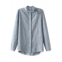 Bow Embellished Stand Collar Thin Stripe Gray Shirt