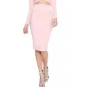 Pearl Pink Knee Length Waist Cutout Pencil Skirt