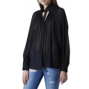 Sexy Black Sheer Collared Pleated Chiffon Blouse