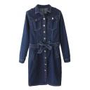 Dark Blue Gold Button Fly Denim Dress with Belt