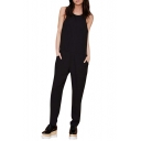Racerback Round Neck Black Jumpsuit