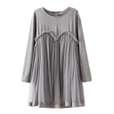 Plain Round Neck Chiffon Insert Long Sleeve Dress