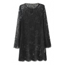 All Over Lace Flower Illusion Style Column Dress