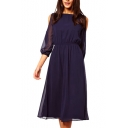 Plain Sheer 3/4 Sleeve Boat Neck Chiffon Knee Length A-line Dress