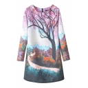 Sakura Tree Rural Landscape Print Round Neck Slim Dress