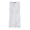 V-neck Ruched Detail Fringe Hem Tanks White Dress