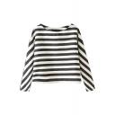 Monochrome Stripe Round Neck Modern Style Blouse