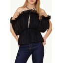 Black  Ruffle Trim Gathered Waist Ruched Chiffon Blouse