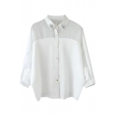 Beaded Point Collar 3/4 Sleeve Sheer Panel Shirt