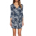 Blue Leopard Pattern V-Neck 3/4 Sleeve Slim Dress