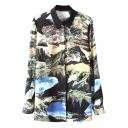 Water Color Landscape Print Shirt