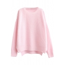 Plain Round Neck Candy Color Style Step Hem Rabbit Hair Batwing Sweater