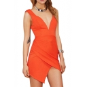 Plunge Neck Backless Asymmetric Fold Style Hem Orange Slim Dress
