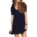 Dark Blue Concise T-shirt Style A-line Dress