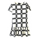 Mono Checker Pattern Short Sleeve Draped Hem Dress