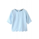 Plain Candy Color Style Short Sleeve Cropped Blouse