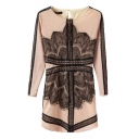 Nude Background Black Lace Insert Long Sleeve Sheath Dress