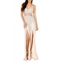 V-Neck Halter Backless Waist Lace Insert Split Wide Leg Jumpsuits