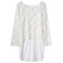Round Neck Lace Panel Ladder-Back Cutwork Blouse