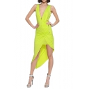 Plunge Neck Pleated Asymmetric Split Hem Yellow Longline Dress