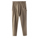 Plain Elastic Waist Double Pocket Cotton&Linen Harem Pants