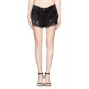 Black High Waist Wide Leg Zipper Fly Ripped Denim Hotpants