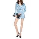 Navy Style White Stripe Pattern Wrap Front Long Sleeve Rompers
