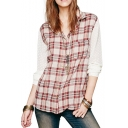 Dot&Circle Pattern Lace Plaid Print Shirt