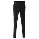Black Vintage Style Six Button Fly High Waist Skinny Pants
