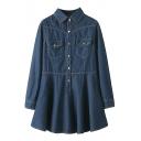 Lapel Pockets Embellished Draped Hem Denim A-line Dress