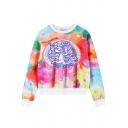Fantastic Color Horse Print Cropped Sweatshirt