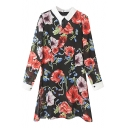 Contrast Lapel Red Flower Print Dress