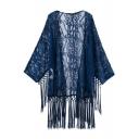 Plain Lace Cutwork Fringe Hem Kimono