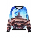 Contrast Trim Blue Sky&Eiffel Print Sweatshirt