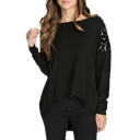 Black Sequins Shoulder Zipper Back High Low Hem Sweater