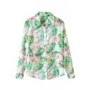 Green Leaves&Pink Flower Print Shirt