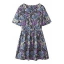 Colorful Butterfly Print Round Neck A-line Dress