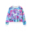 Flying Cartoon Horse Print Cropped Sweatshirt