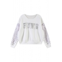 Letter Print Round Neck Long Sleeve Loose Sweatshirt
