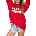Off-duty Style White Letter Print Red Sweatshirt